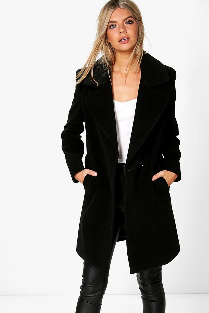 Poppy Oversized Collar Wool Look Coat Boohoo