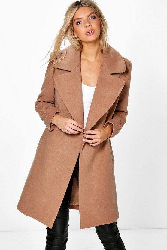 Womens Oversized Collar Wool Look Coat