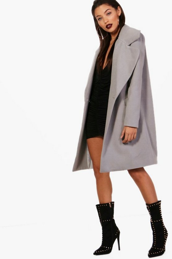 Oversized Collar Wool Look Coat