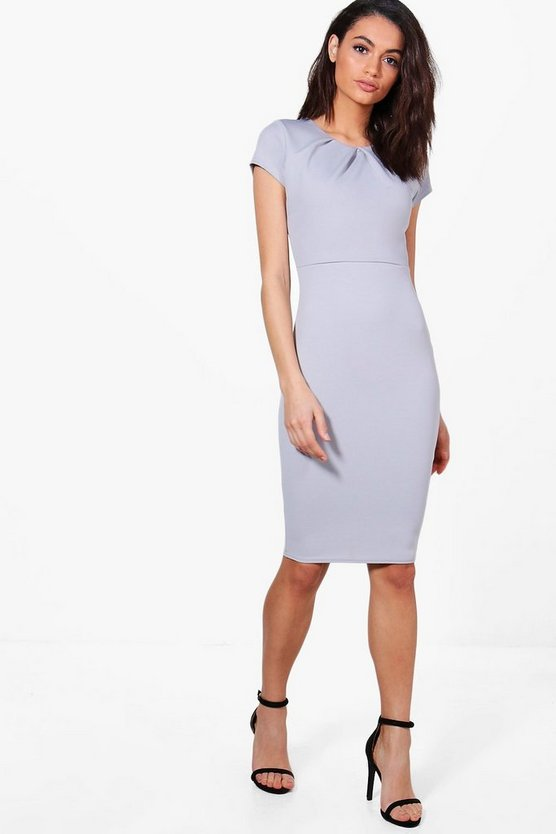 Womens Grey Daisy Tailored Bodycon Dress