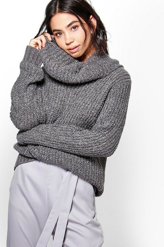 Boucle Crop Cowl Neck Jumper