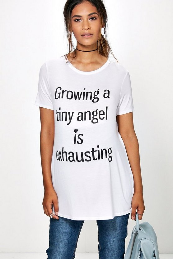 "camiseta con estampado ""growing tiny humans"" kathy premamá"