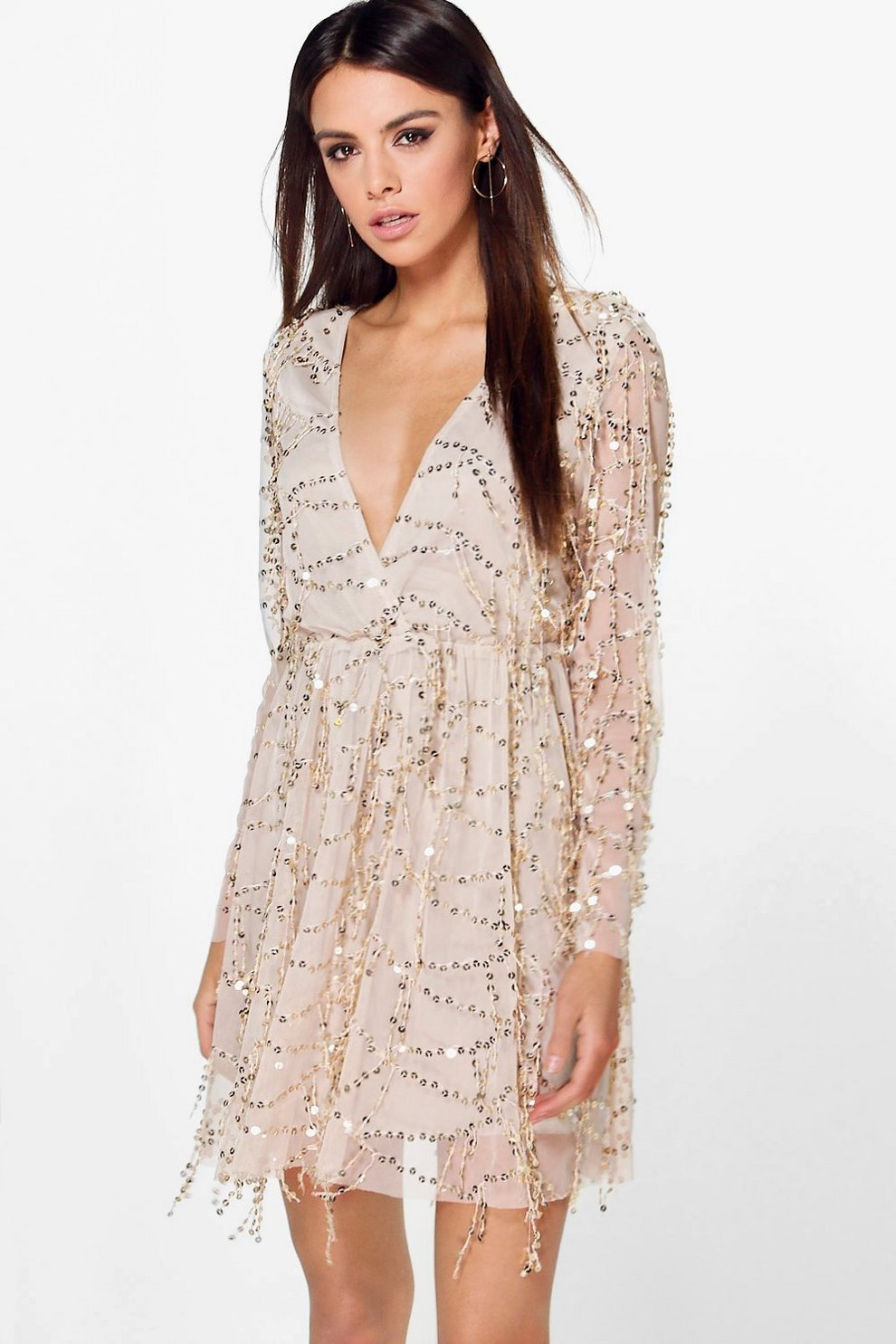 2b408f7b Womens Gold Boutique Dana Sequin Wrap Over Skater Dress