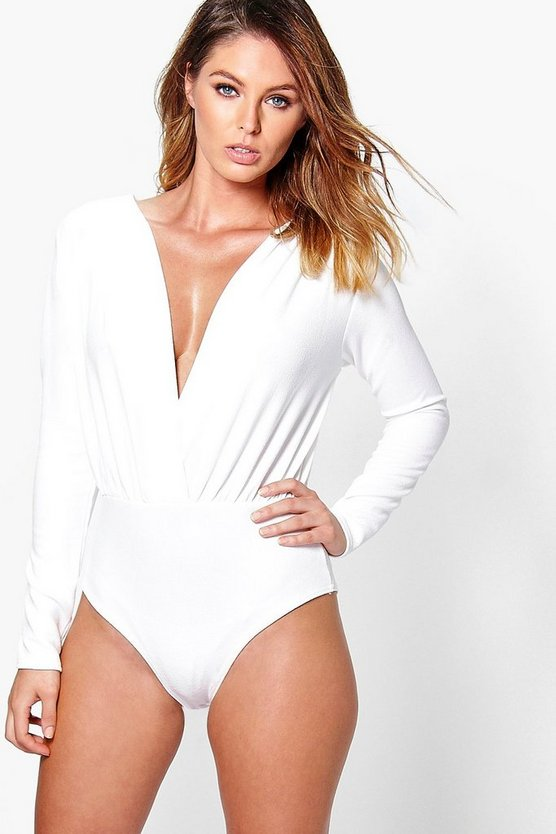 Womens Ivory Textured Deep Plunge Wrap Bodysuit