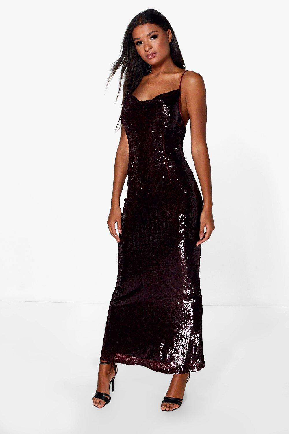 b254e59efc Boutique Sequin Cowl Front Strappy Maxi Dress | Boohoo