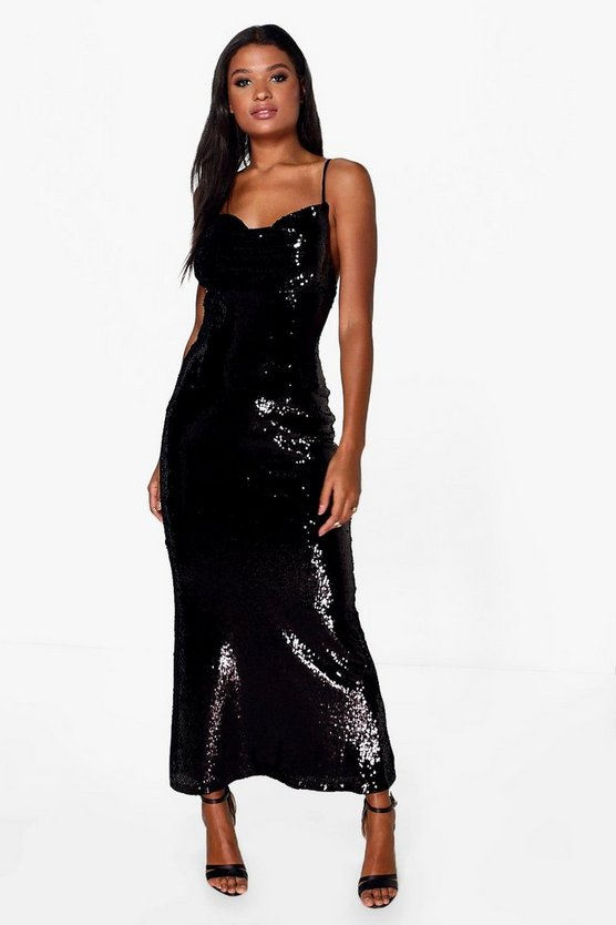 Boutique Sequin Cowl Front Strappy Maxi Dress