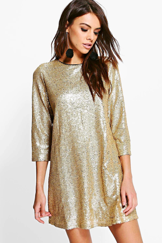 e9277a635377 Boutique Lucie Sequin 3/4 Sleeve Shift Dress | Boohoo
