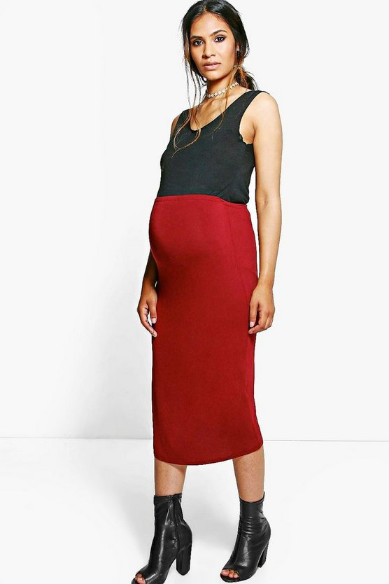 Womens Wine Maternity Casey Over The Bump Pencil Skirt