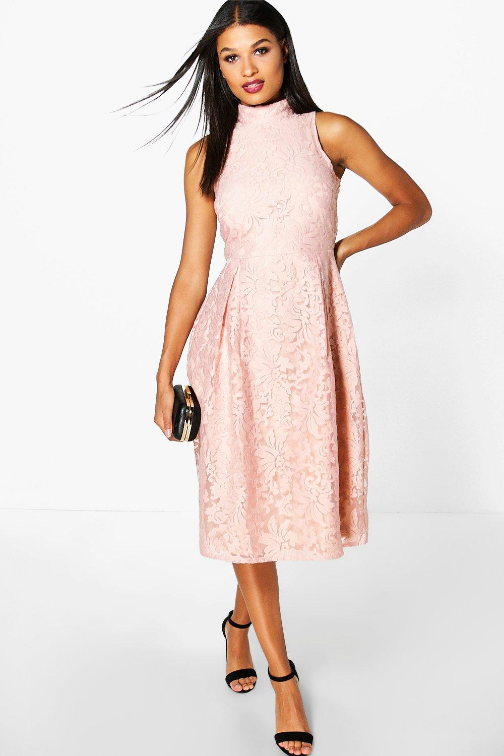 642a9db6cf ... Embroidered High Neck Midi Skater Dress. Hover to zoom