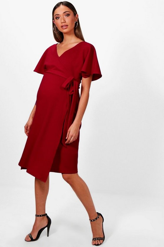 Maternity Crepe Wrap Midi Dress