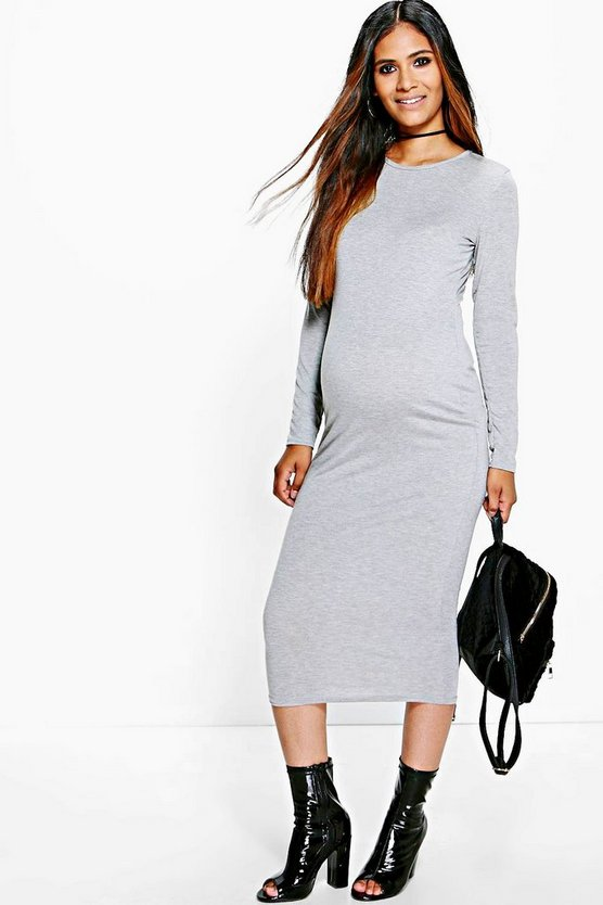 Womens Grey Maternity Caroline Long Sleeve Midi Dress
