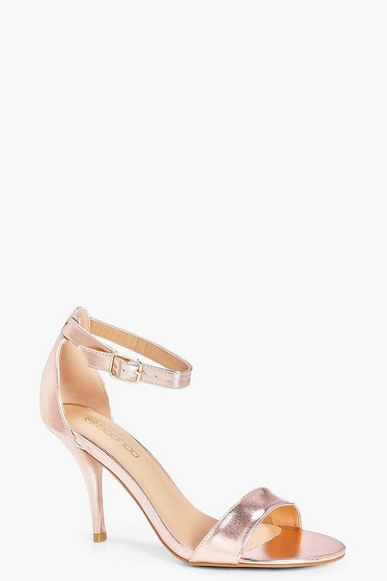 Womens Rose gold Wide Fit Metallic Mid Heel Two Part Heels