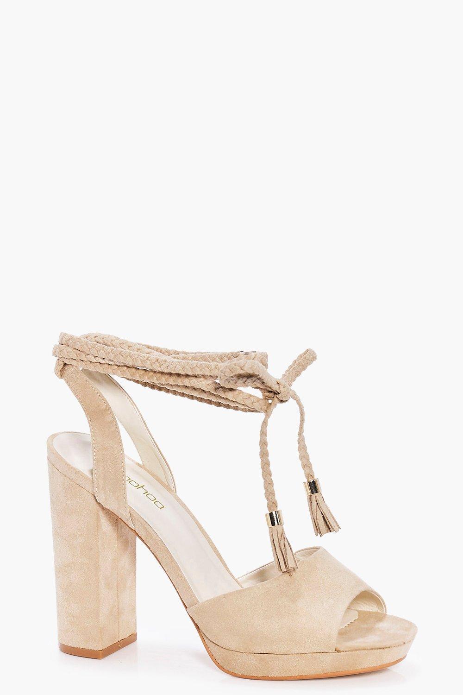c5dd94d82558 Beatrice Plaited Wrap Strap Platform Heels. Hover to zoom