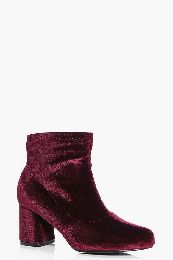 Womens Burgundy Gabriella Velvet Ankle Boot