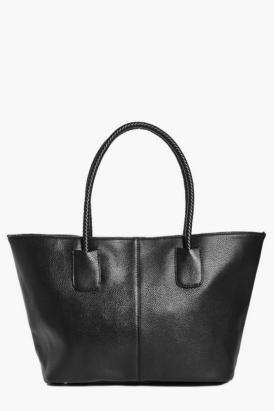 Black Lena Plait Handle Oversized Day Bag