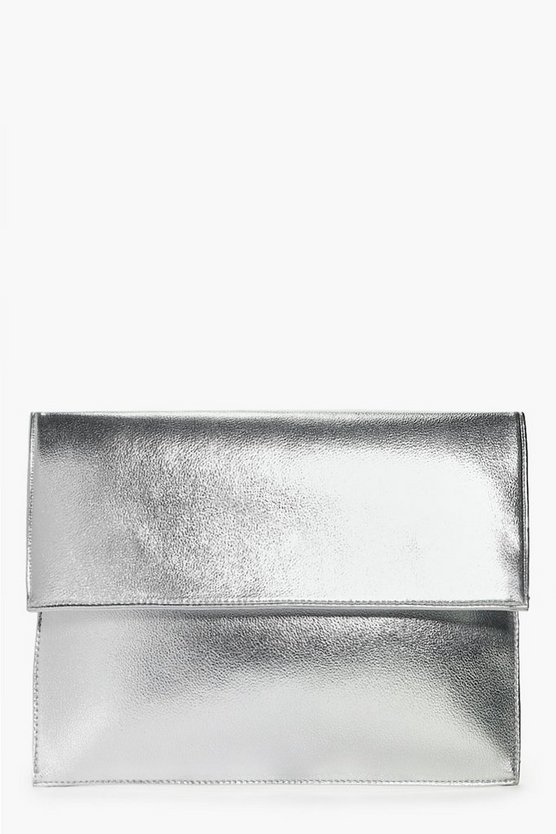 Jess Oversized Metallic Clutch Bag
