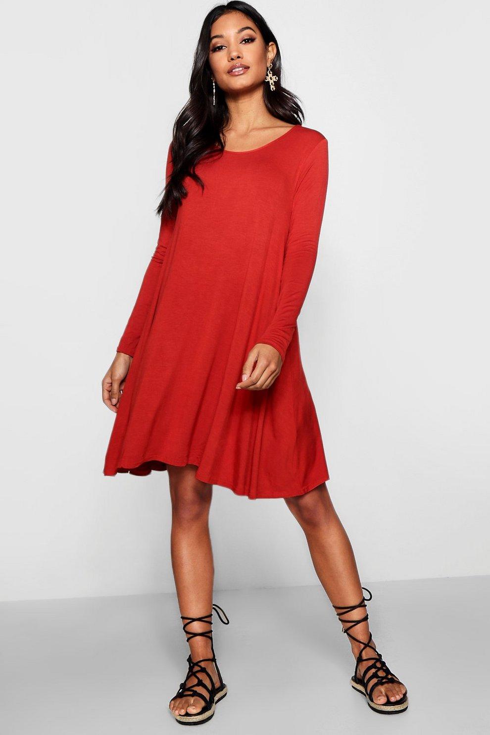 3b8b0c8364d Womens Cinnamon Scoop Neck Long Sleeve Swing Dress