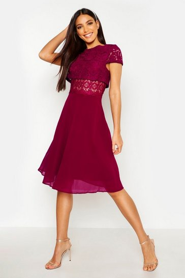 Womens Berry Lace Top Chiffon Skater Dress