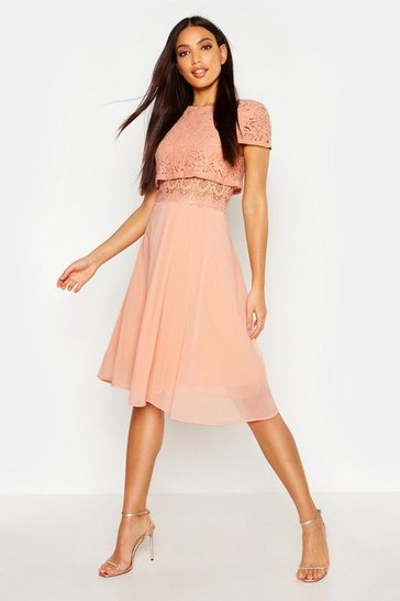 Womens Blush Lace Top Chiffon Skater Dress