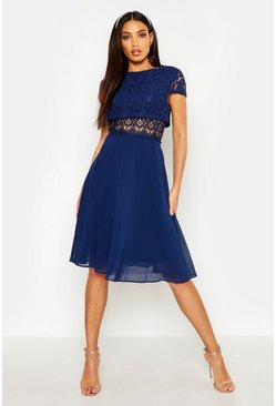 Womens Navy Lace Top Chiffon Skater Dress