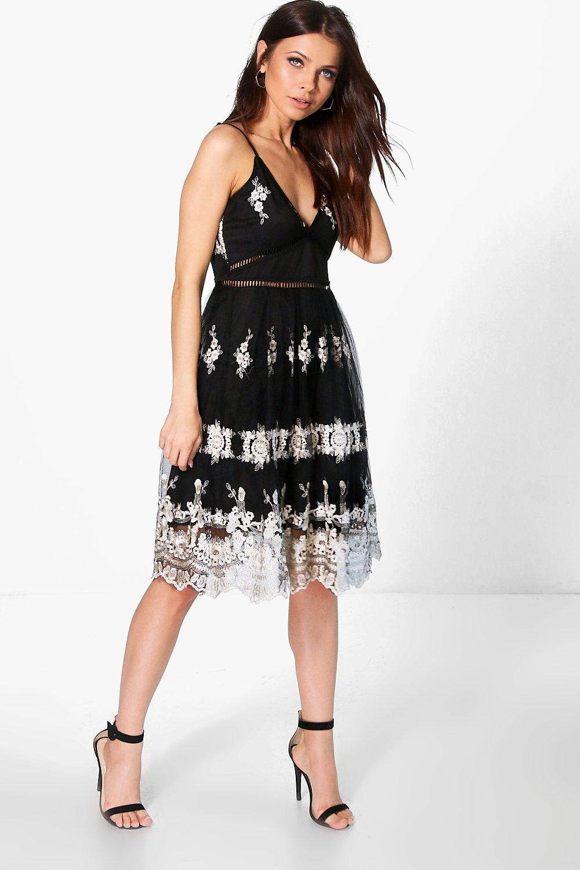 b0bbce4dbd48 Boutique Sia Metallic Lace Skater Dress | Boohoo