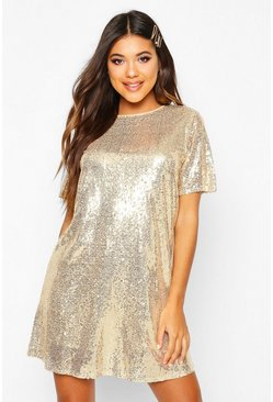 Womens Gold Boutique Sequin T-Shirt Christmas Party Dress