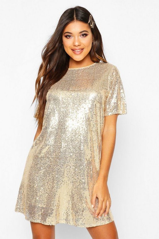 Womens Gold Boutique Lacey Sequin T-Shirt Dress