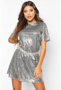 Womens Grey Boutique Sequin T-Shirt Christmas Party Dress