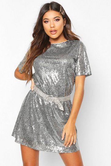 Womens Grey Boutique Lacey Sequin T-Shirt Dress
