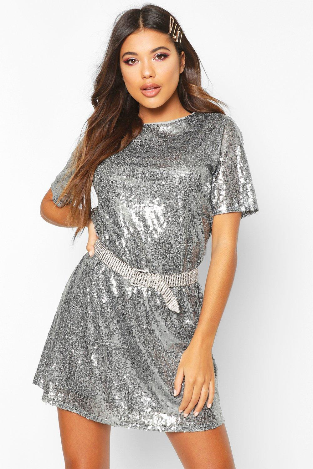 980618f815738 Boutique Lacey Sequin T-Shirt Dress | Boohoo