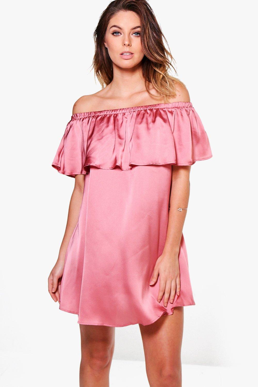 Satin Frill Off Shoulder Shift Dress  rose