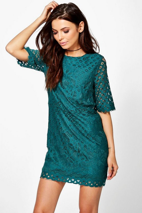 Talia Lace Short Sleeve Shift Dress