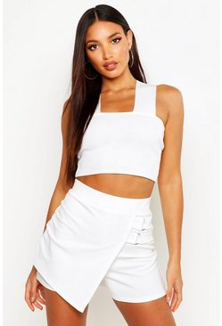 Womens Ivory D Ring Detail Skort