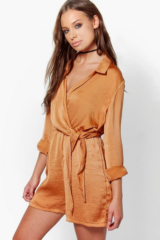 Eve Wrap Over Satin Playsuit