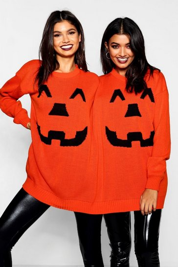 Womens Orange Halloween Pumpkin Twin Jumper