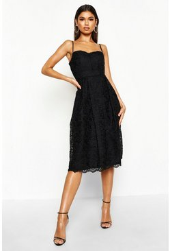 Black Boutique Embroidered Strappy Midi Skater Dress