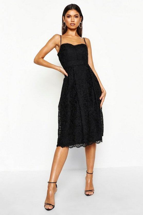 Womens Black Boutique Embroidered Strappy Midi Skater Dress