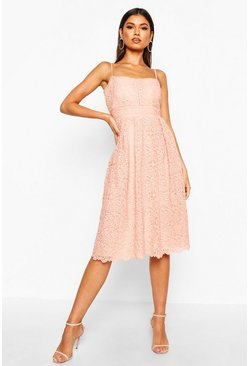 Blush Boutique Embroidered Strappy Midi Skater Dress