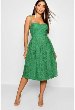 Emerald Boutique Embroidered Strappy Midi Skater Dress