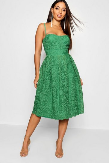 Womens Emerald Boutique Embroidered Strappy Midi Skater Dress