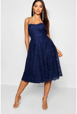 Womens Navy Boutique Embroidered Strappy Midi Skater Dress