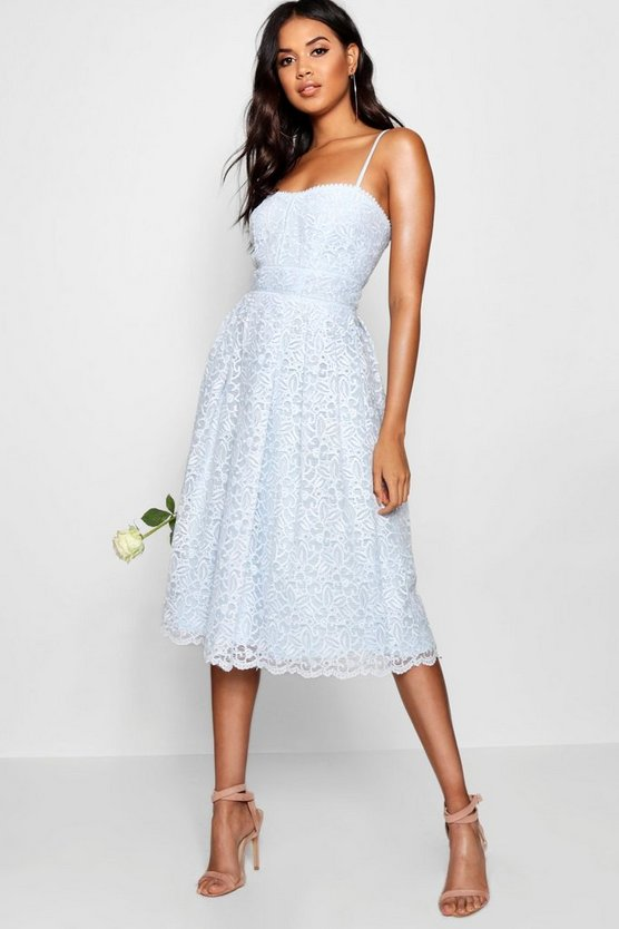 Sky Boutique Embroidered Strappy Midi Skater Dress