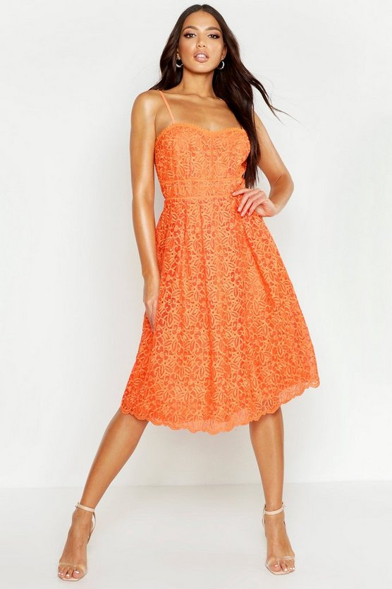 Womens Tangerine Boutique Embroidered Strappy Midi Skater Dress