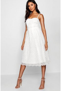 Womens White Boutique Embroidered Strappy Midi Skater Dress