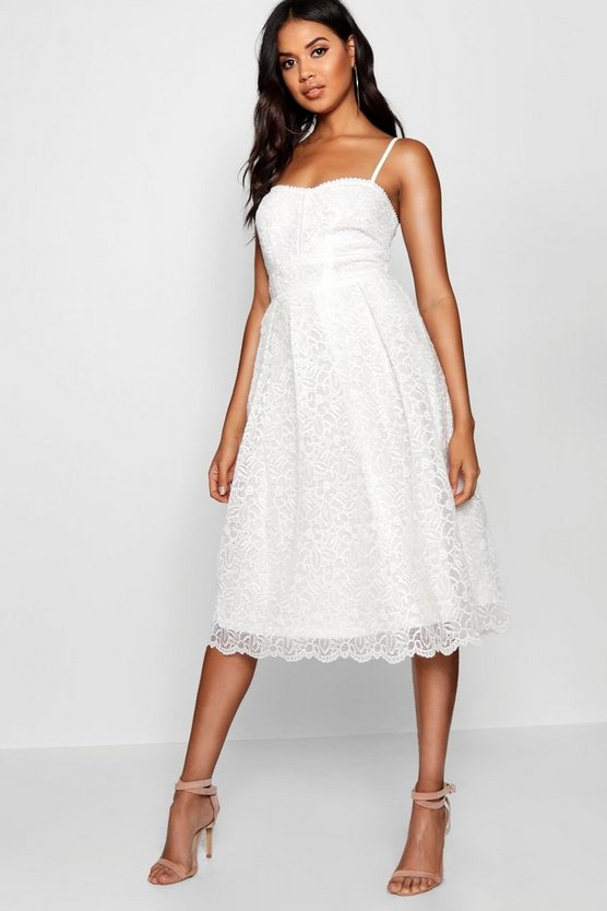 Boutique Embroidered Strappy Midi Skater Dress