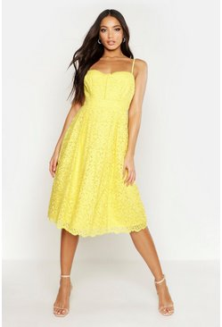 Womens Yellow Boutique Embroidered Strappy Midi Skater Dress