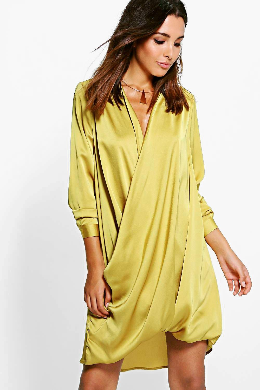 Satin Wrap Front Shift Dress  chartreuse