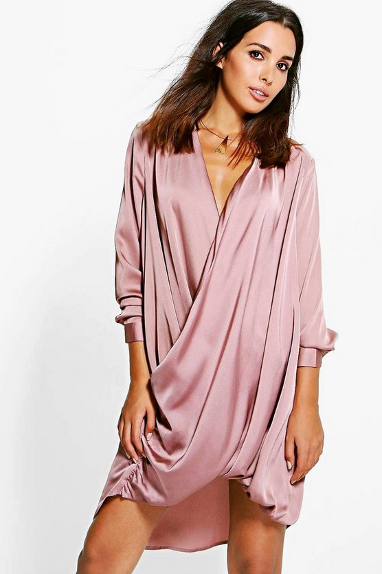 Womens Satin Wrap Front Shift Dress