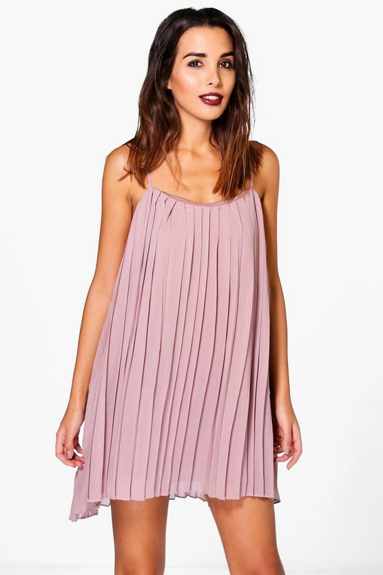Lucy Strappy Pleated Swing Dress