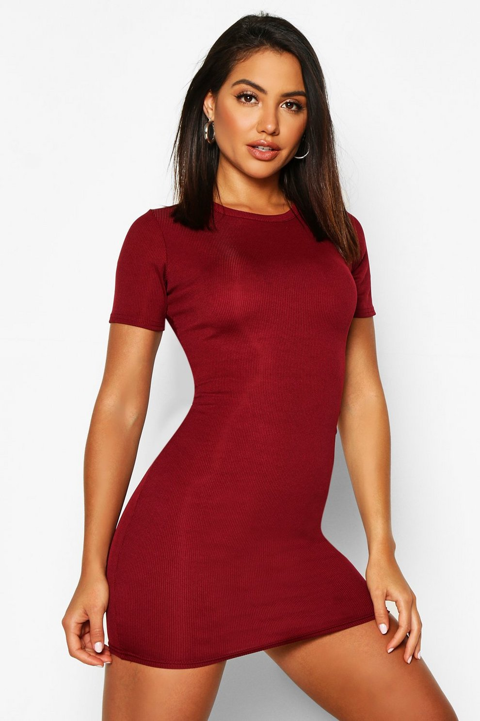 2499118a Basic Rib Crew Bodycon Dress | Boohoo